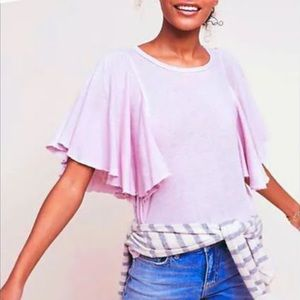Anthropologie Lilac Flutter Sleeve Ruffle Tee